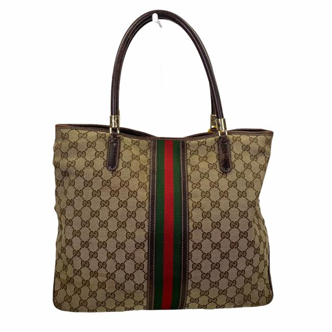 Item - Bag Gg Pattern Leather Brown Canvas Tote