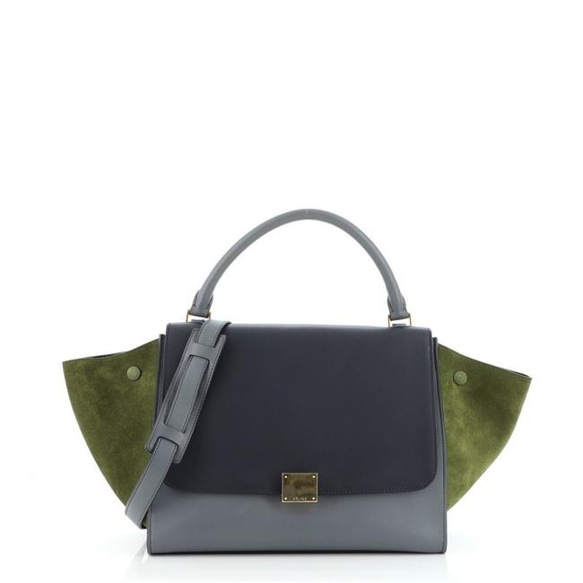 Item - Trapeze Tricolor Medium Blue Gray Green Leather Tote