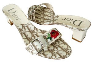Dior Christian Mules Vintage Flowers Brown Floral Brown Diorissimo Ivory Sandals