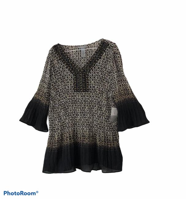 Item - Black and Tan with Off White Blouse Size 16 (XL, Plus 0x)