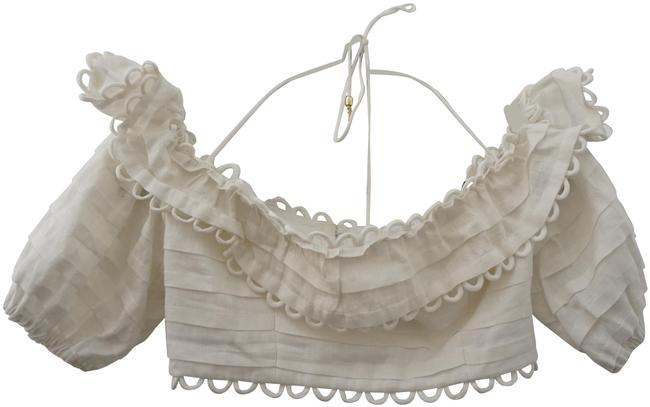 Item - Cropped Scalloped Layered Linen Ivory Top