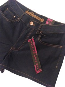 Dollhouse Mini/Short Shorts Dark Rinse with Gold Stitching