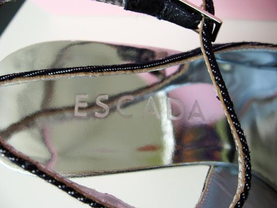 Escada Swarovski Crystals Stacked Heel Logo Blue Wedges