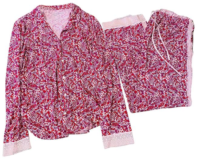Item - Pink 2pc Red/Pink Floral Pajama Set with Lace Trim Button-down Top Size 12 (L)