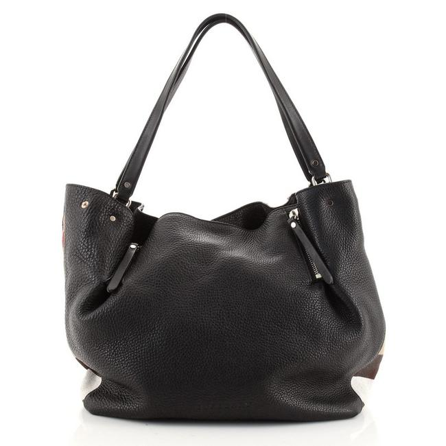 Item - Maidstone and House Check Medium Black Brown Multicolor Canvas (Plain) Leather Tote