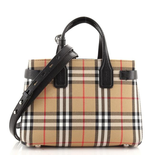 Item - Banner Vintage Check Small Brown Print Canvas (Plain) Tote
