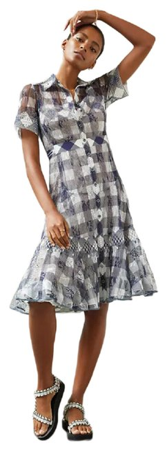 Item - Gray Gingham Lace Midi By Byron Lars Mid-length Formal Dress Size 10 (M)