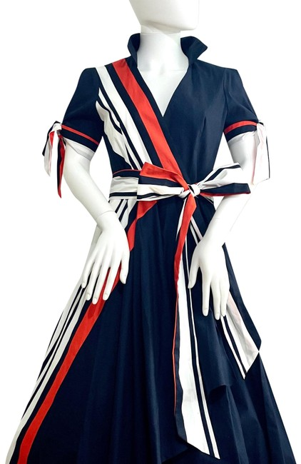 Item - Navy Wrap Mid-length Night Out Dress Size 4 (S)