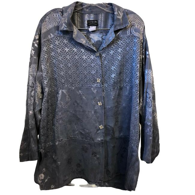 Item - Black Grey Santa Monica L Collection Womens Hand Dyed Rayon Loose Tunic Size 14 (L)