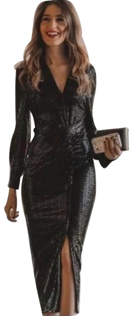 Item - Black Sparkly Shirt Night Out Dress Size 4 (S)