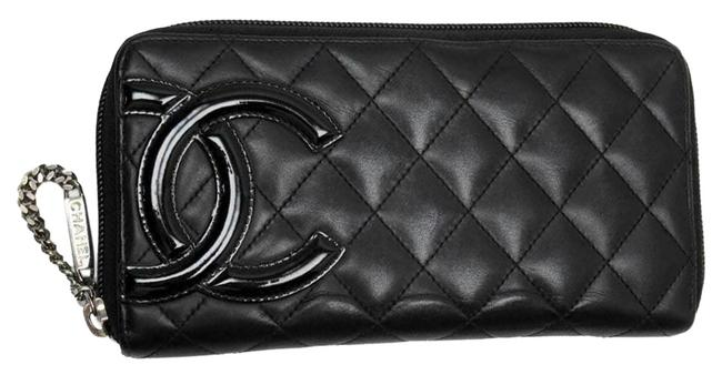 Item - Black Cambon Round Purse Leather Wallet