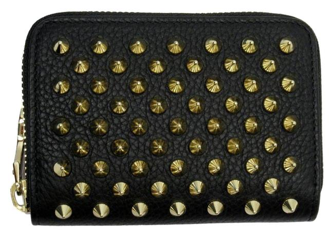 Item - Black / Gold / Red Color Coin Case Panettone Leather Studs Wallet