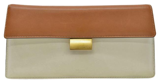 Item - Gold Second Ladies Brown / White Leather / Metal Clutch