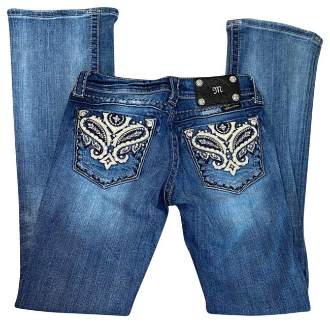 Item - Blue Dark Rinse Dark/Med Wash Bling Back **great Condition Boot Cut Jeans Size 25 (2, XS)