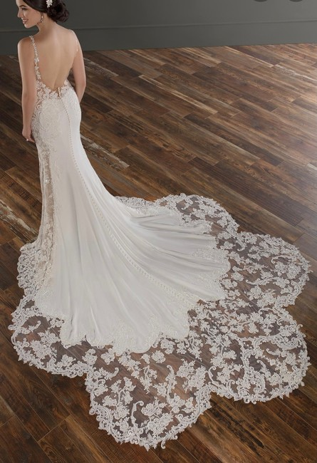 Item - Ivory Lace and Luxe Crepe with Honey Panel and Porcelain Tulle Illusions Sexy Wedding Dress Size 10 (M)