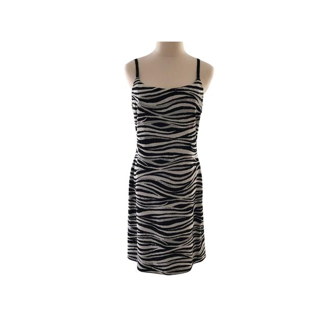 Item - Black Cream Grey Silver Evening Collection Short Cocktail Dress Size 8 (M)