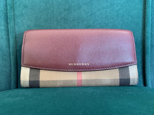 Item - Burgundy Beige and Black Porter Continental House Check Wallet