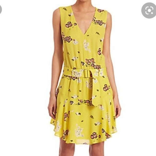 Item - Yellow Floral Hadley Mini Womens Cocktail Dress Size 6 (S)