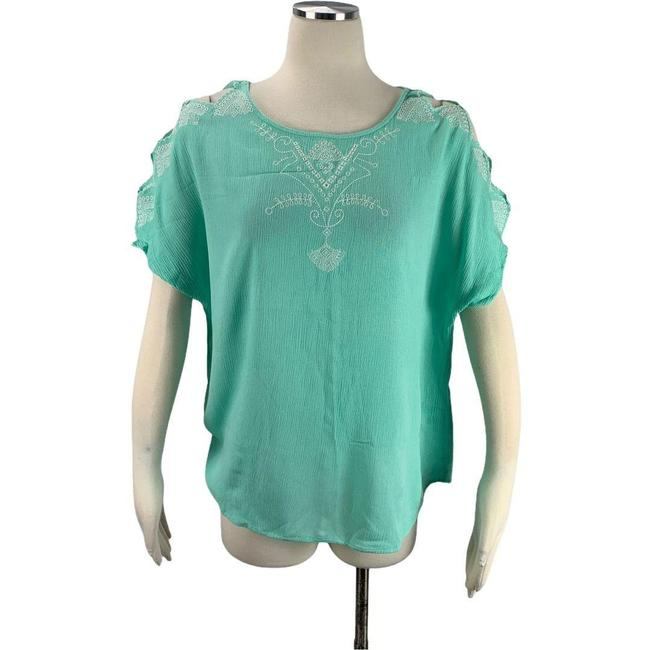 Item - Green Medium Embroidery Cold Shoulder Blouse Size 8 (M)