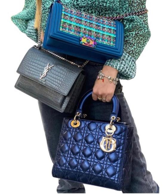Item - Lady 2019 Medium with Light Ghw ( Metallic Blue Ghw) Leather Tote