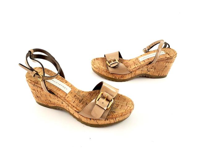 Item - Nude Patent Leather Beige Buckle Cork Sandals Wedges Size EU 37 (Approx. US 7) Regular (M, B)