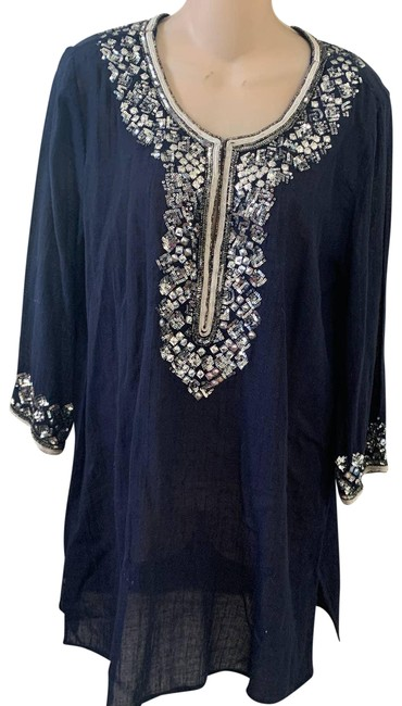 Item - Blue Sequined Beaded Cotton Beach Cover Tunic Size 8 (M)