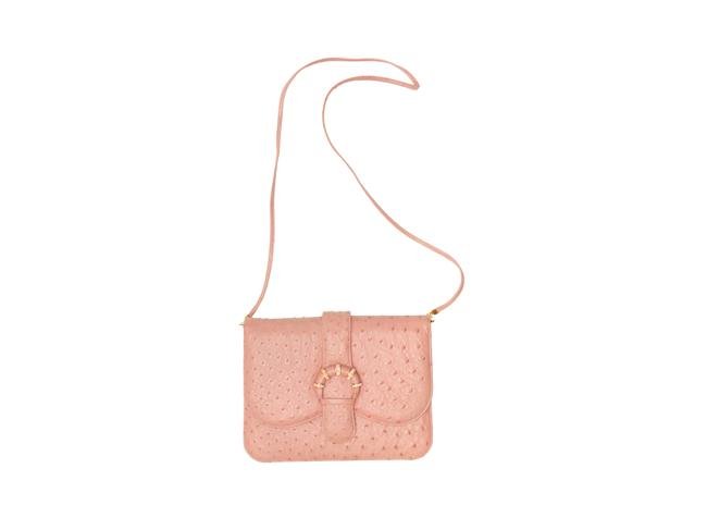 Item - Ostrich Pink Leather Cross Body Bag