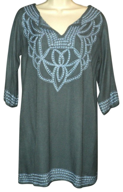 Item - Blue-gray Rayon Pashmina Embroidered 3/4 Sleeves Mid-length Work/Office Dress Size 8 (M)
