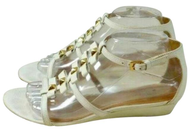 Item - Ivory Darcey Leather Bow Studded Wedge Sandals Size US 8 Regular (M, B)