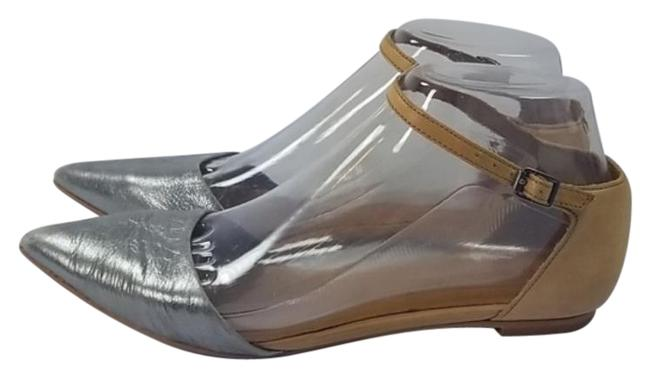 Item - Silver Bege Beatrice Skimmer Ankle Strap Leather Flats Size US 6.5 Regular (M, B)