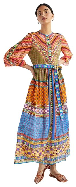 Item - Multicolor Abstract Puff-sleeved Long Formal Dress Size 2 (XS)