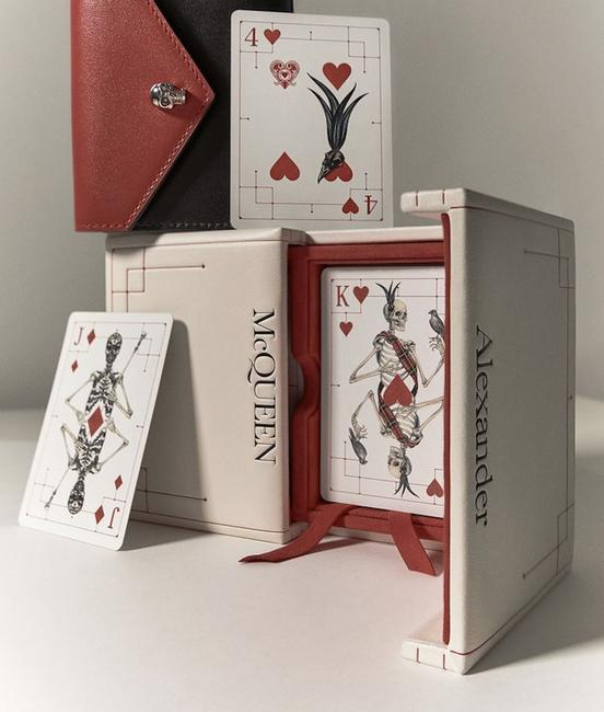 Item - Ivory Box Double Pack Playing Cards In Leather Covered Logo Case Decoration
