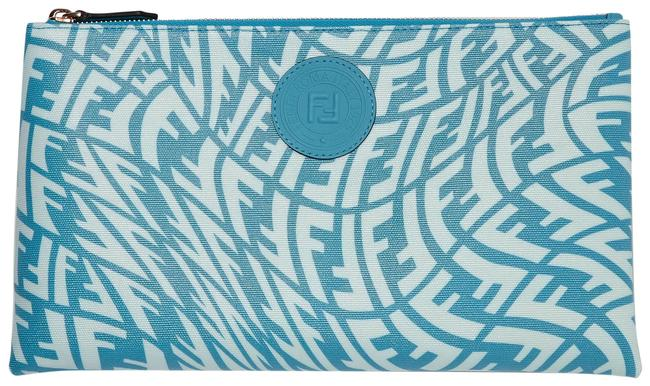Item - Leather-trimmed Pouch Blue Printed Coated-canvas Clutch