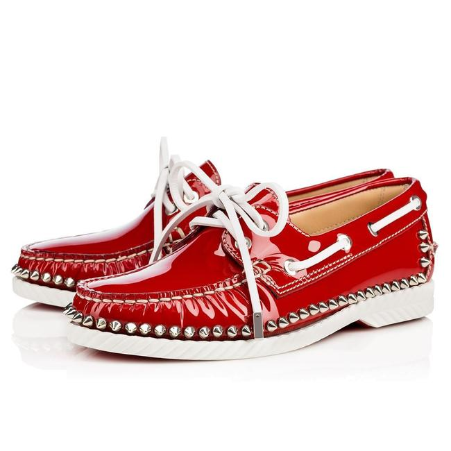 Item - Red Patent Spiked Loafer Flats Size US 5.5 Regular (M, B)
