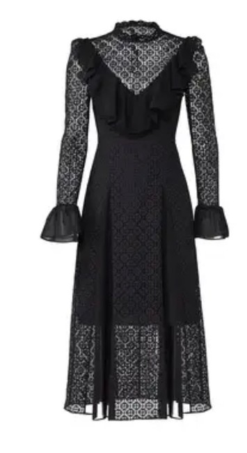 Item - Black New Prairie Lace Ruffle Mid-length Cocktail Dress Size 6 (S)