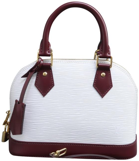 Item - Alma Bb White and Wine Red Epi Leather Satchel