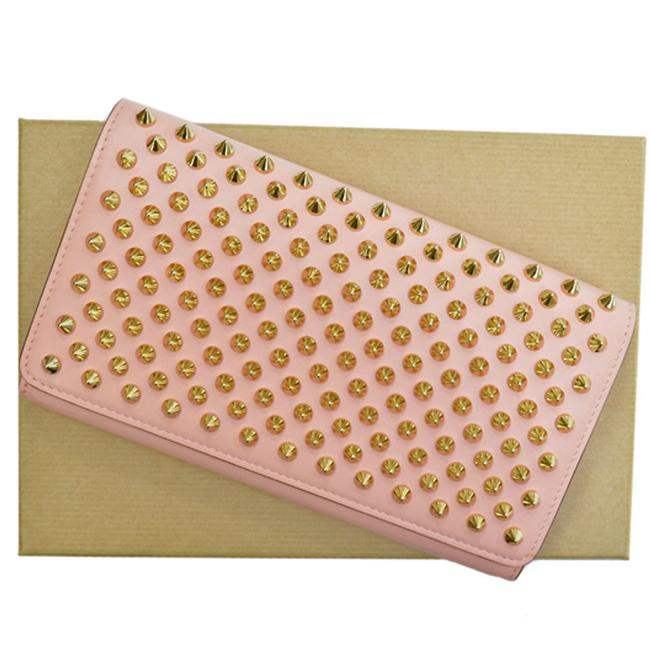 Item - Gold / Pink Purse Panettone Spike Leather Bi-fold Ladies Wallet