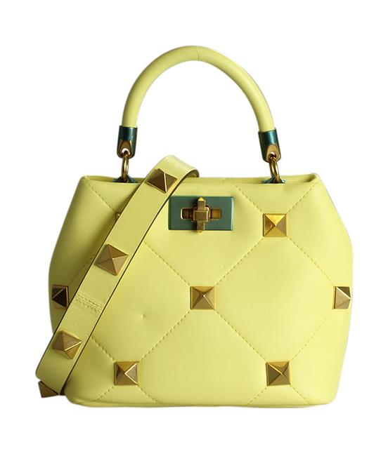 Item - Roman Small Stud The Handle Quilted 2- Way (199505) Yellow Leather Shoulder Bag