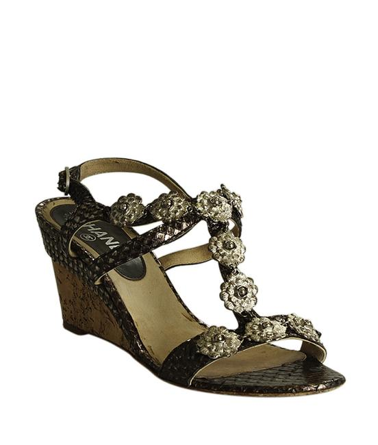 Item - Silver Camellia Python Corked (195522) Wedges Size EU 38 (Approx. US 8) Regular (M, B)