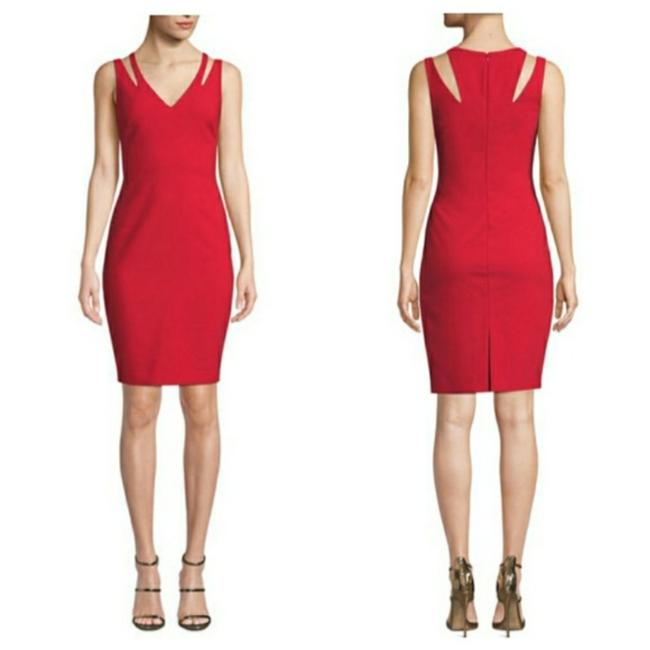 Item - Red Sheath Mid-length Cocktail Dress Size 4 (S)