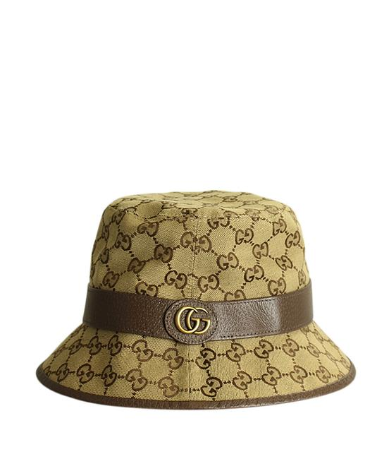 Item - Brown Bucket Gg Leather & Canvas Hat Size S (199116)