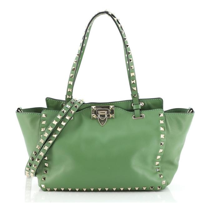 Item - Rockstud Soft Small Green Leather Tote