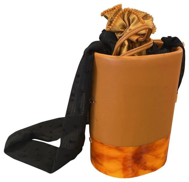 Item - Bucket Large Dallas with Scarf Strap Apricot Multiple Leather Acrylic Fabric Hobo Bag