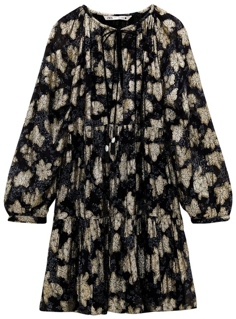 Item - Black and Gold Contemporary Short Casual Dress Size 4 (S)