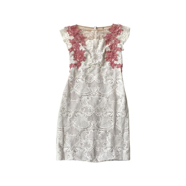 Item - White Coral Lace Beaded Mid-length Cocktail Dress Size 12 (L)