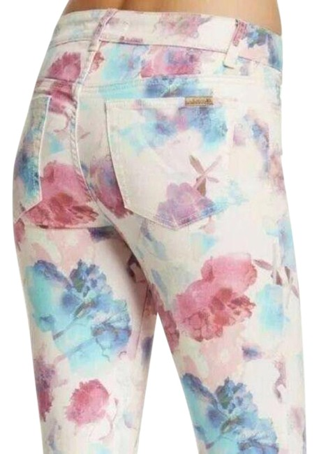 Item - Pink Coated Watercolor Floral Print Ink Rose Skinny Jeans Size 26 (2, XS)