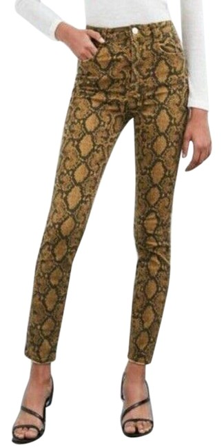 Item - Brown Coated Womens Pants Snakeskin Print Hi-rise Stretch Skinny Jeans Size 24 (0, XS)