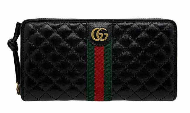 Item - Black Marmont Gg Quilted Web Logo Large Zip Around Leather Wallet