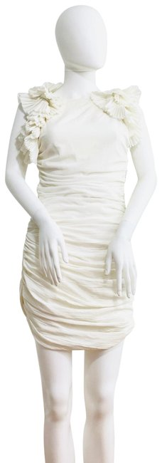Item - White Ruched Short Casual Dress Size 0 (XS)
