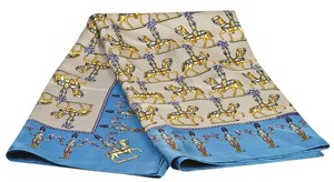 Hermès Hermes Blue Multicolor Les Artificiers Print Silk Scarf